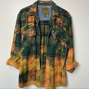 UPCYCLED Bleach Tie Dye Flannel Shirt Shacket